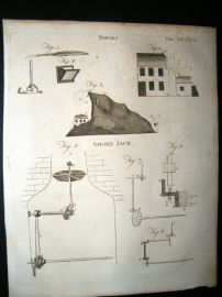 Science & Tech C1790 Antique Print. Smoke, Smoke Jack 471